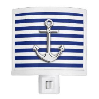 Chrome Anchor on Navy Stripes Night Light