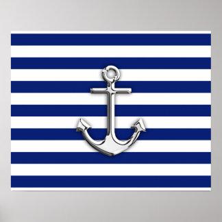 Chrome Anchor on Navy Stripes Poster
