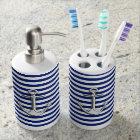 Chrome Anchor on Navy Stripes Print Soap Dispenser And Toothbrush Holder