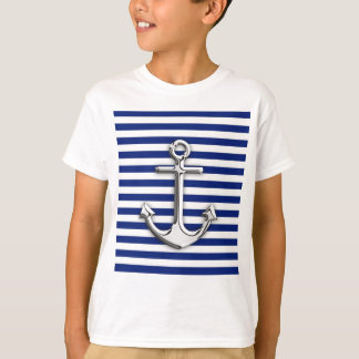 Chrome Anchor on Navy Stripes T-Shirt