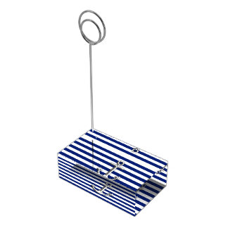 Chrome Anchor on Navy Stripes Table Card Holder