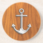 Chrome Anchor on Teak Veneer Style Coaster
