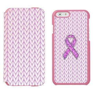 Chrome and Crystals Pink Ribbon Awareness Knit Incipio Watson™ iPhone 6 Wallet Case