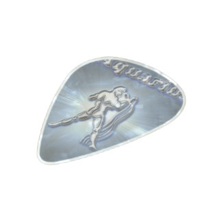 Chrome Aquarius Pearl Celluloid Guitar Pick
