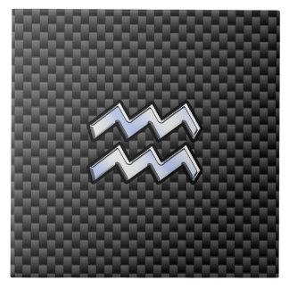 Chrome Aquarius Zodiac Sign Carbon Fiber Styles Tile
