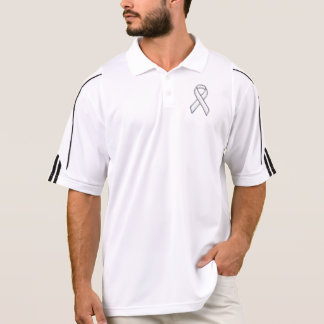 Chrome Belted Style White Ribbon Awareness Polo Shirt