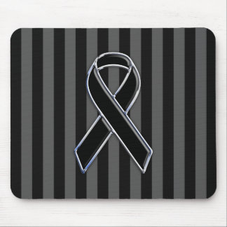 Chrome Black Ribbon Awareness Stripes Mouse Pad