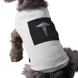 Chrome Caduceus Medical Symbol Carbon Fiber Print Dog Clothes