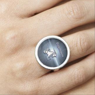 Chrome Capricorn Photo Ring