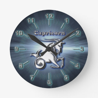 Chrome Capricorn Round Clock