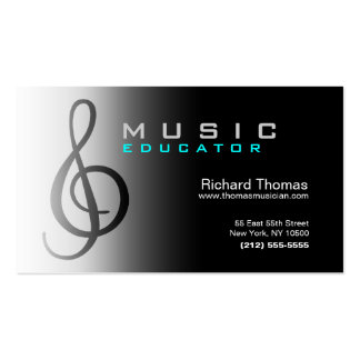 Chrome de carte de visite d'éducateur de musique