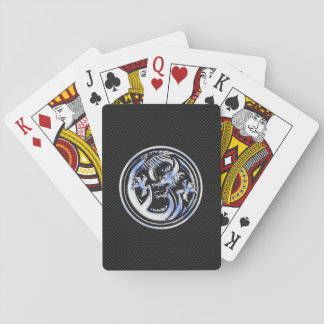 Chrome Dragon Crest black Carbon Fiber Print Playing Cards