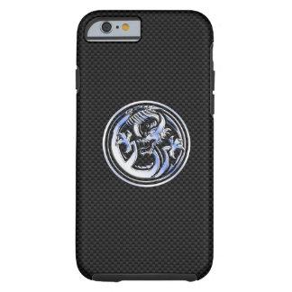 Chrome Dragon Crest dark Carbon Fiber Print Tough iPhone 6 Case