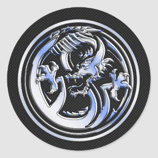Chrome Dragon Crest on Carbon Fiber Print Round Sticker