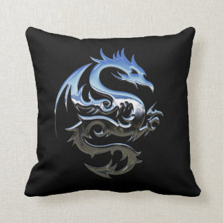 Chrome Dragon Throw Pillow