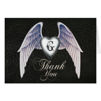 Chrome & Faux Leather Heart Thank You Card