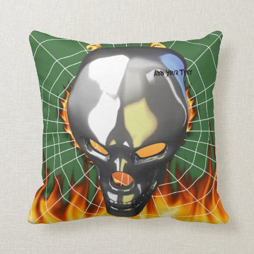 Chrome human skull design 2 with fire and web pillows