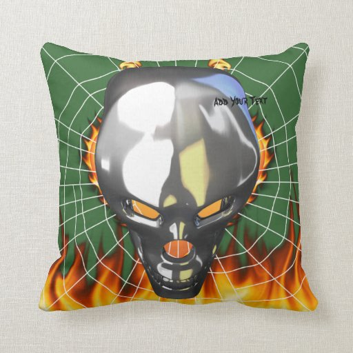 Chrome human skull design 3 with fire and web throw pillow