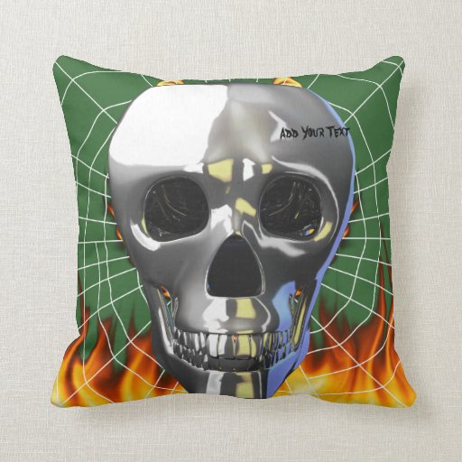 Chrome human skull design 4 with fire and web. throw pillow