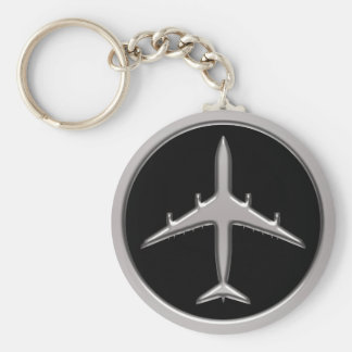 Chrome Jet Airplane Keychain