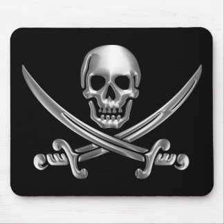 Chrome Jolly Roger Mouse Pad