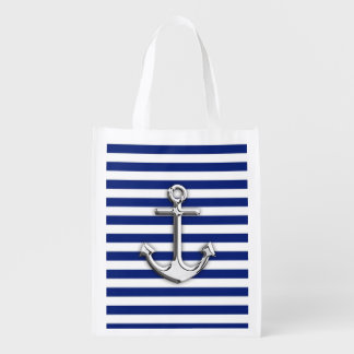 Chrome Like Anchor on Navy Blue Stripes decor Reusable Grocery Bags