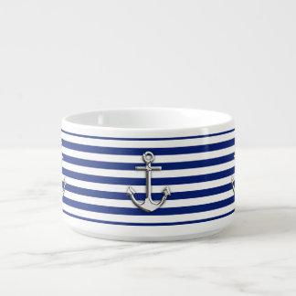 Chrome Like Anchor on Navy Stripes Decor Bowl
