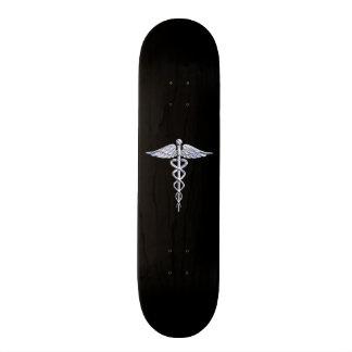 Chrome Like Caduceus Medical Symbol Skateboard Deck
