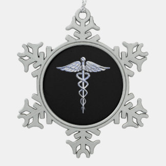 Chrome Like Caduceus Medical Symbol Snowflake Pewter Christmas Ornament