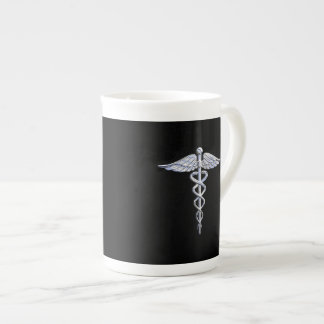 Chrome Like Caduceus Medical Symbol Tea Cup