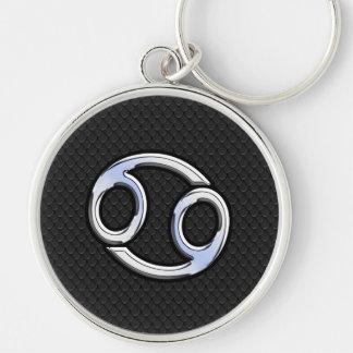 Chrome Like Cancer Zodiac Symbol on Snake Style Keychain