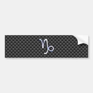 Chrome like Capricorn Sign Black Carbon Fiber Bumper Sticker