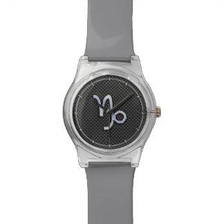 Chrome like Capricorn Sign Black Carbon Fiber Wristwatches