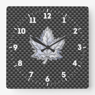 Chrome Like Maple Leaf on Carbon Fiber black on a Square Wall Clock