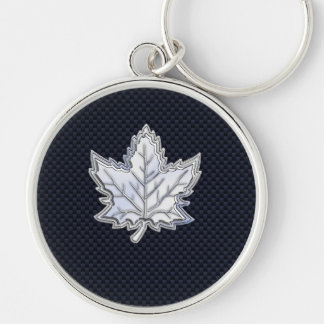 Chrome Like Maple Leaf on Carbon Fiber black Silver-Colored Round Keychain
