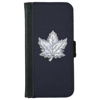 Chrome Like Maple Leaf on Carbon Fiber Print iPhone 6 Wallet Case