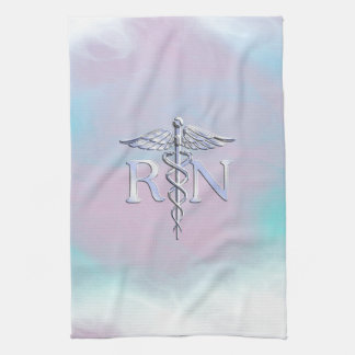 Chrome Like RN Caduceus in Mother Pearl Style Kitchen Towel