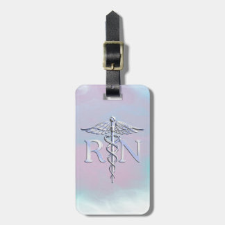Chrome Like RN Caduceus in Mother Pearl Style Luggage Tag