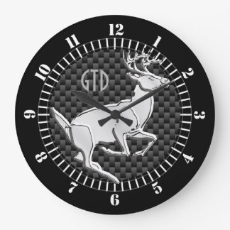 Chrome Like Running Deer Carbon Print Monogram Large Clock