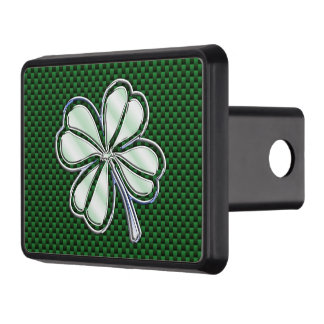 Chrome Like Shamrock on Carbon Fiber Print Trailer Hitch Cover