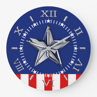 Chrome Like Star on Festive Patriotic Colors Dial Large Clock