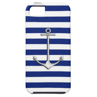 Chrome Like Thin Anchor on Nautical Stripes Decor iPhone 5 Cases