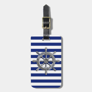 Chrome Like Wheel on Nautical Stripes Bag Tag