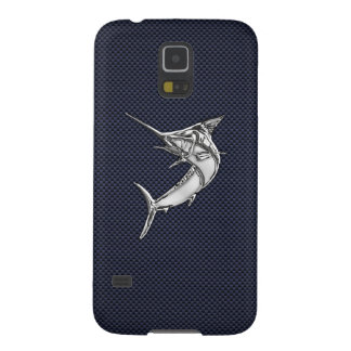 Chrome Marlin Fish on Carbon Fiber Print Cases For Galaxy S5