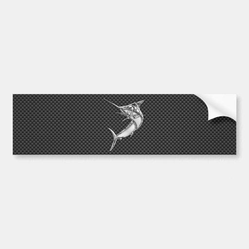 Chrome Marlin on Carbon Fiber Bumper Stickers