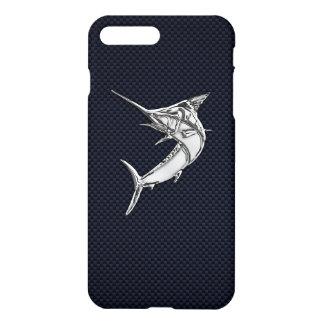 Chrome Marlin on Carbon Fiber iPhone 8 Plus/7 Plus Case