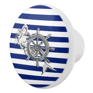 Chrome Mermaid on Nautical Navy Stripes Print Ceramic Knob