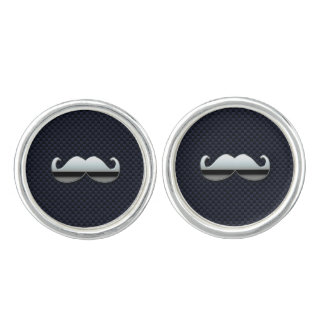 Chrome Mustache on Racing Carbon Fiber Print Cuff Links