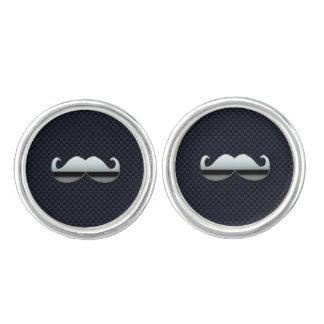 Chrome Mustache on Racing Carbon Fiber Print Cufflinks