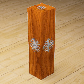 Chrome Nautical Compass on Teak Wood Veneer Print Wine Boxes